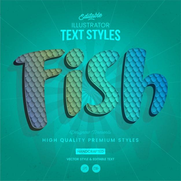 Estilo de texto animal pez Vector Premium