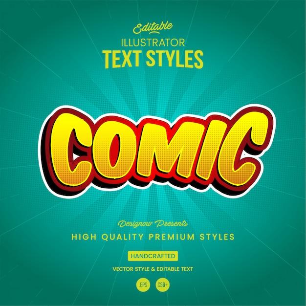 Estilo de texto de cómic Vector Premium