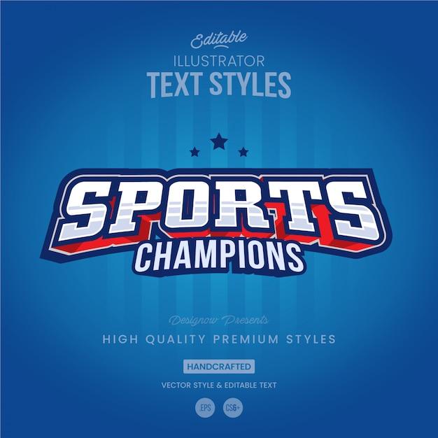 Estilo de texto deportivo Vector Premium