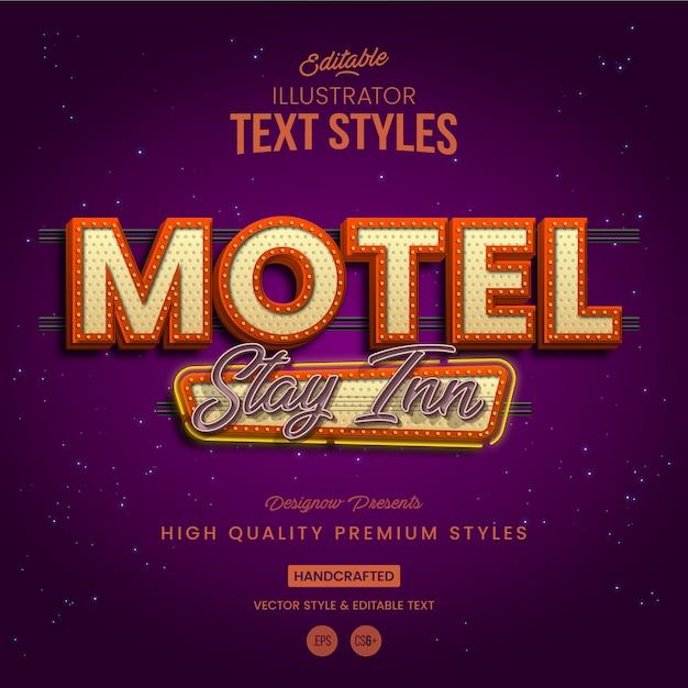 Estilo de texto retro vintage motel Vector Premium