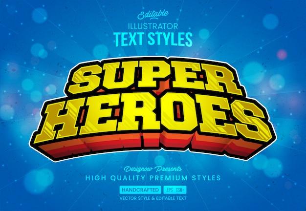 Estilo de texto de superhéroes Vector Premium