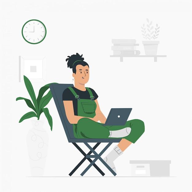 Estilo de vida de mujer, trabajando desde casa Vector Premium