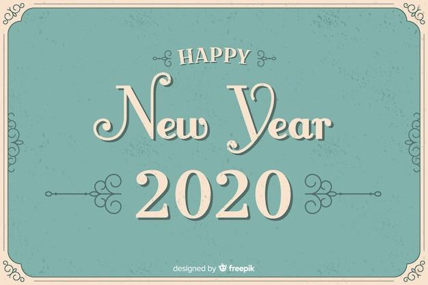 Estilo vintage año nuevo 2020 vector gratuito