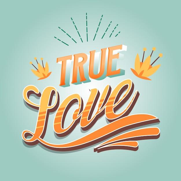 Estilo vintage para letras de amor vector gratuito
