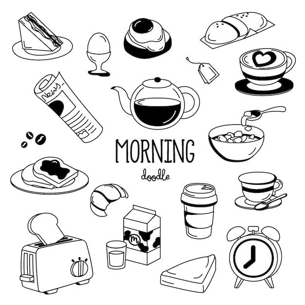 Estilos de dibujo a mano cosas de la mañana. doodle de la mañana Vector Premium
