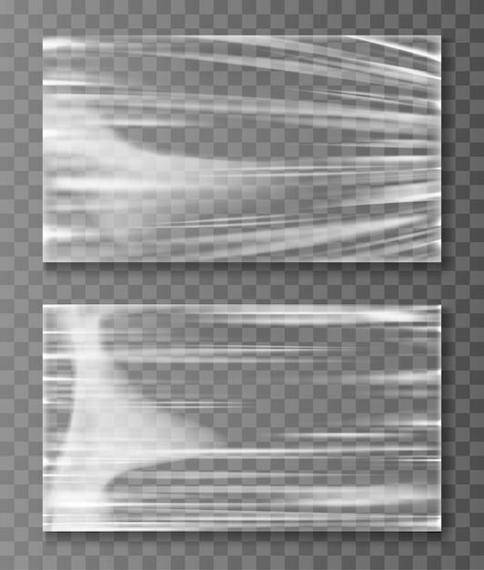 Estirado celofán banner crumpl textura plegada vector gratuito