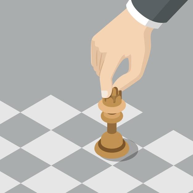 Estrategia caballero mover concepto de negocio plano vector gratuito