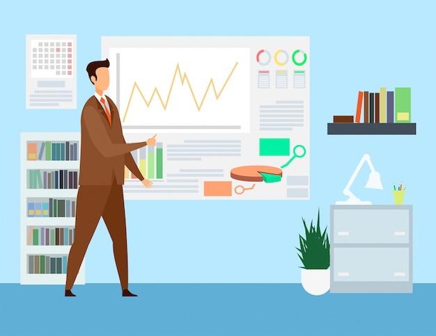 Estrategia empresarial, ilustración de presentación comercial Vector Premium