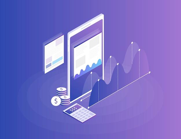 Estrategia de negocios. análisis de datos e inversiones. éxito empresarial revisión financiera con el teléfono y elementos infográficos. plano isométrico 3d ilustración Vector Premium