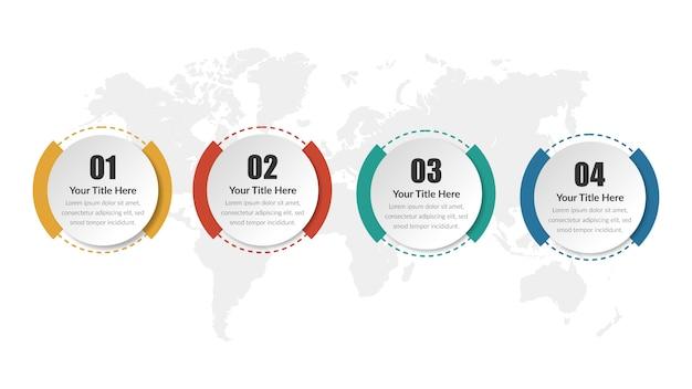 Estrategia de negocios de plantilla de círculo infografía con número Vector Premium