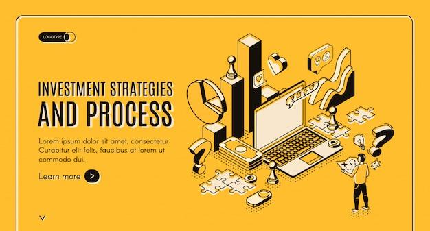 Estrategias de inversión y proceso isométrico banner vector gratuito