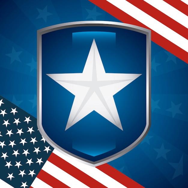 Estrella de estados unidos en escudo con diseño de bandera americana vector gratuito