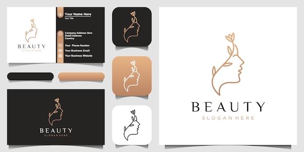 Estrella de flor de rostro de mujer hermosa con logotipo de estilo de arte lineal y diseño de tarjeta de visita Vector Premium
