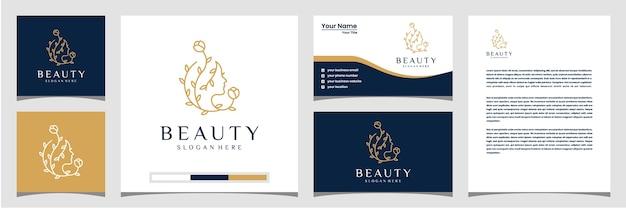 Estrella de flor de rostro de mujer hermosa con membrete y tarjeta de visita de logotipo de estilo de arte de línea. concepto de diseño abstracto para salón de belleza, masajes, revista, cosmética. Vector Premium