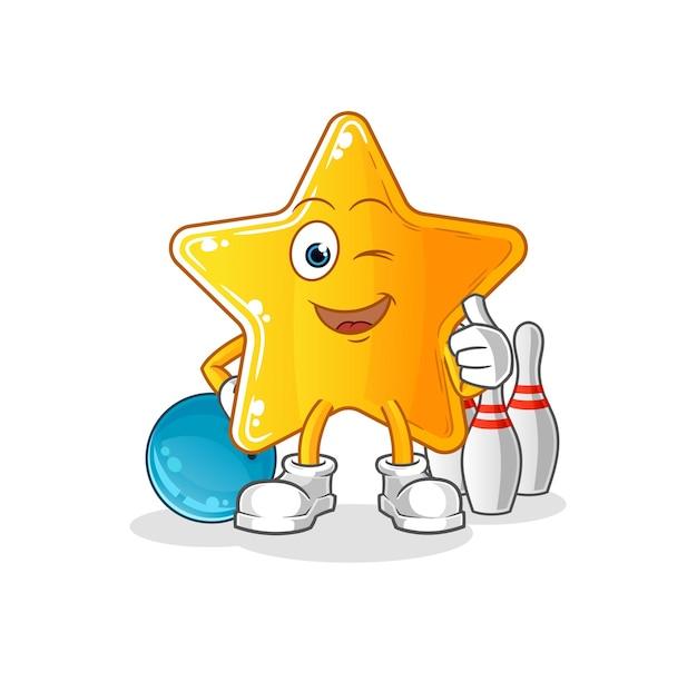 La estrella jugar a los bolos ilustración. Vector Premium