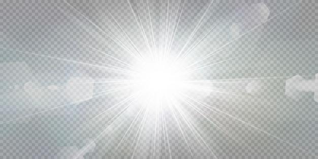 Estrellas brillantes sobre un fondo blanco transparente. Vector Premium