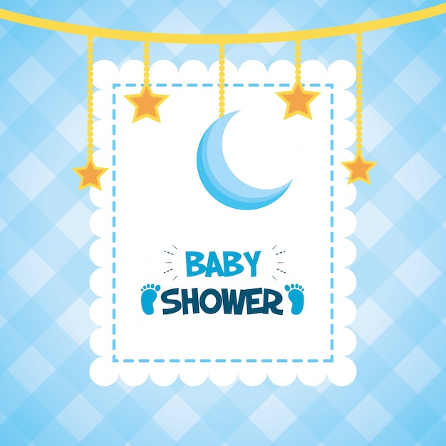 Estrellas colgantes y luna para baby shower vector gratuito