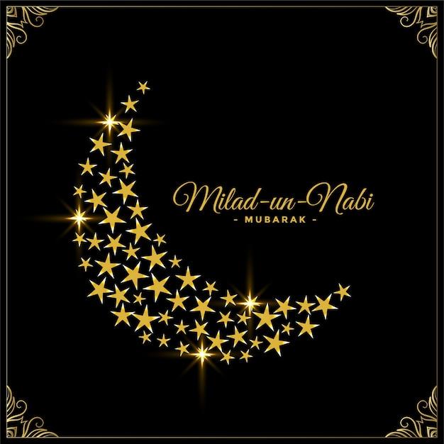 Estrellas decorativas y fondo de luna para el festival milad un nabi vector gratuito