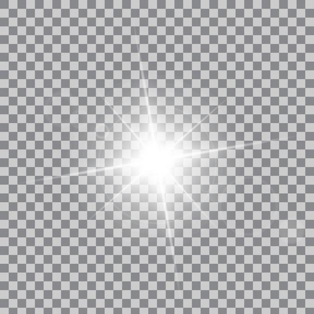 Las estrellas de efecto de luz resplandor estallan con destellos. Vector Premium