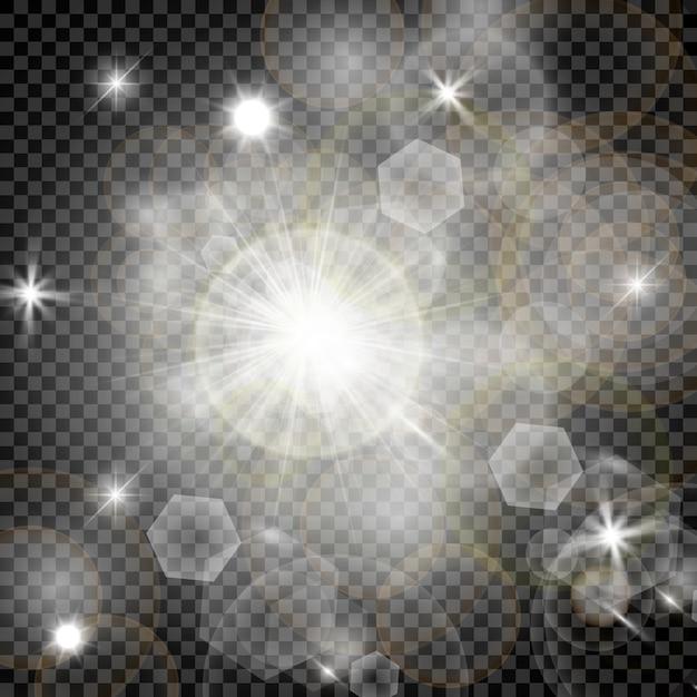 Estrellas en un fondo blanco y gris transparente en un tablero de ajedrez. Vector Premium