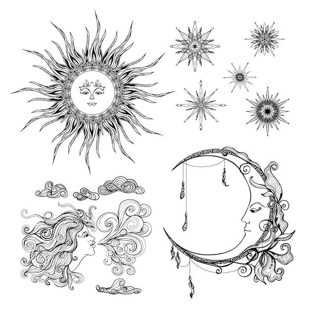 Estrellas luna y viento vector gratuito