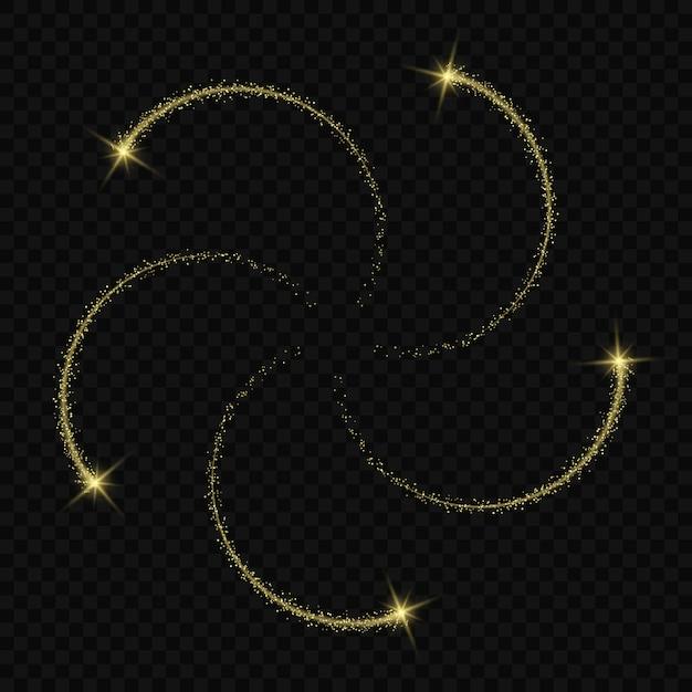 Las estrellas mágicas del efecto del resplandor ligero estallan con las chispas aisladas en fondo transparente. traza de luz Vector Premium