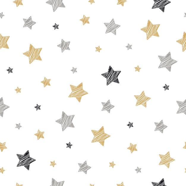 Estrellas de navidad de patrones sin fisuras garabatos dibujo fondo ...