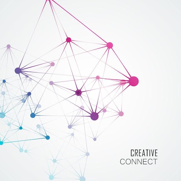 Estructura dinámica de la molécula, fondo de tecnología abstracta Vector Premium