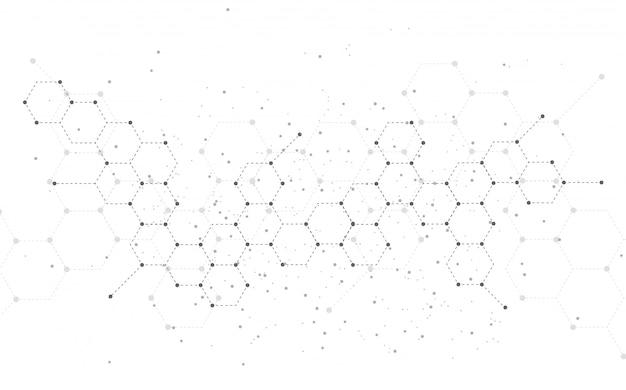 Estructura molecular resumen de antecedentes de tecnología. diseño medico Vector Premium