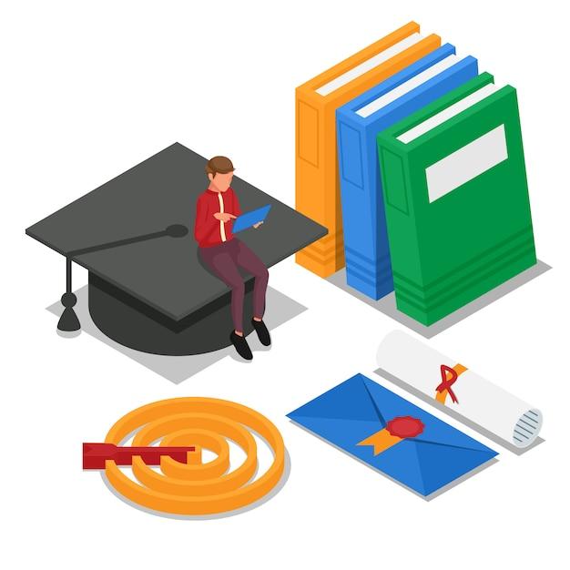 El estudiante aprende en línea y se sienta en la gorra de graduación. documento de diploma. vector Vector Premium