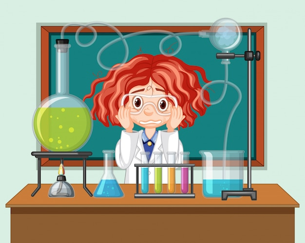 Estudiante en el aula de ciencias trabajando con herramientas vector gratuito