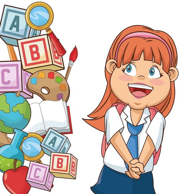 Estudiante De Dibujos Animados Chica Con Suministros Descargar