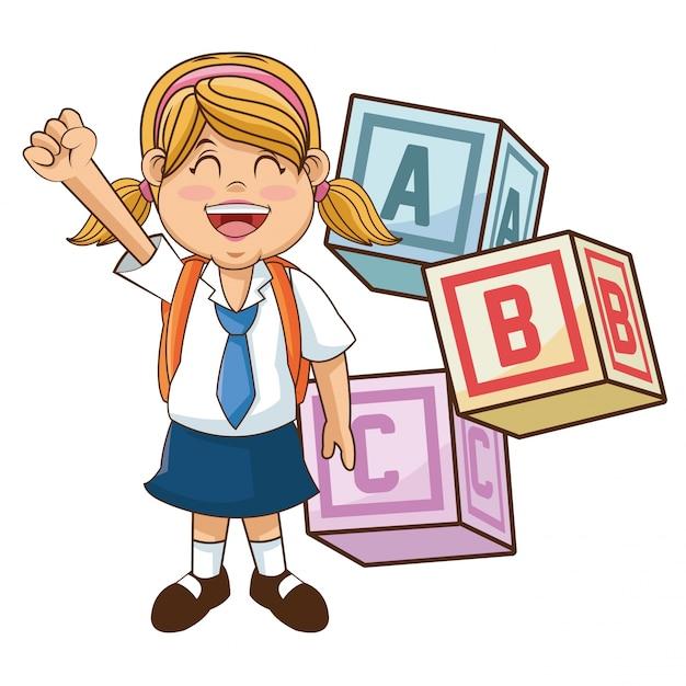 Estudiante de dibujos animados chica con suministros | Vector Premium