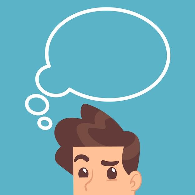 Estudiante educado pensando con burbuja de pensamiento por encima de la cabeza. concepto de vector de educación Vector Premium