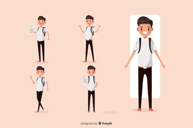 Estudiante haciendo diferentes acciones vector gratuito