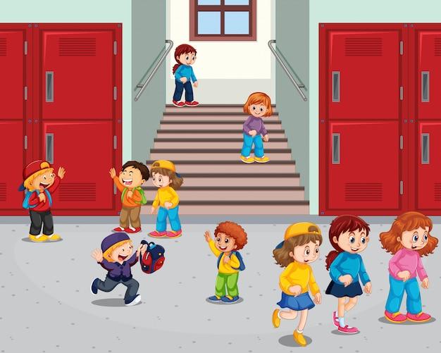 Estudiante en el pasillo de la escuela vector gratuito