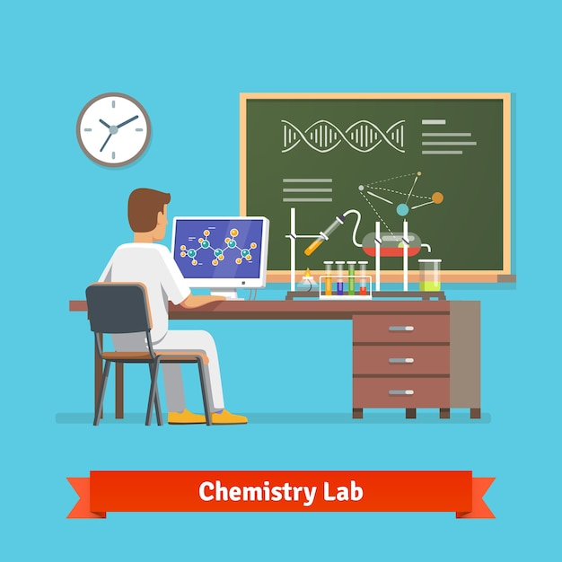 Estudiante universitario haciendo investigación en laboratorio de química Vector Gratis