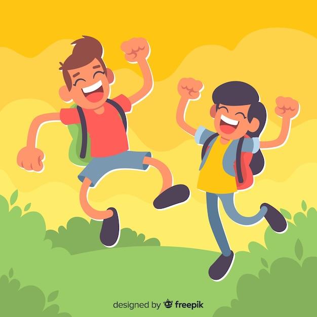 Estudiantes de diseño plano saltando felices vector gratuito