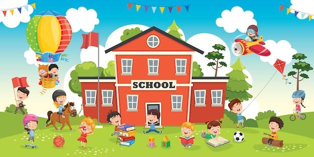 Estudiantes divertidos y edificio escolar Vector Premium