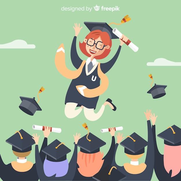 Estudiantes felices graduándose con diseño plano vector gratuito