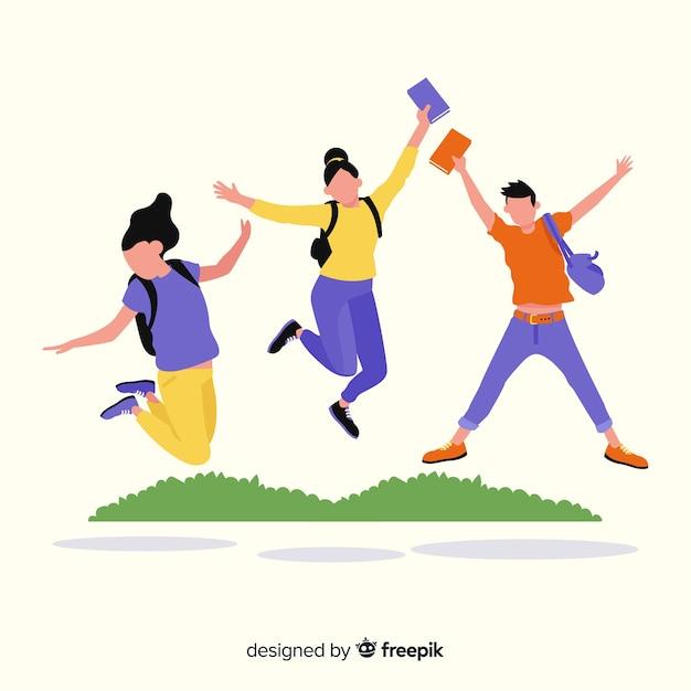 Estudiantes felices saltando con diseño plano vector gratuito