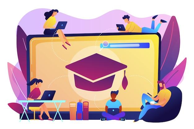 Estudiantes con laptops estudiando y una laptop enorme con gorra de graduación. cursos en línea gratuitos, cursos certificados en línea, concepto de escuela de negocios en línea. vector gratuito