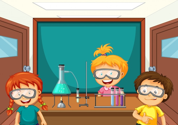 Estudiantes que trabajan con herramientas de ciencias en el laboratorio. vector gratuito
