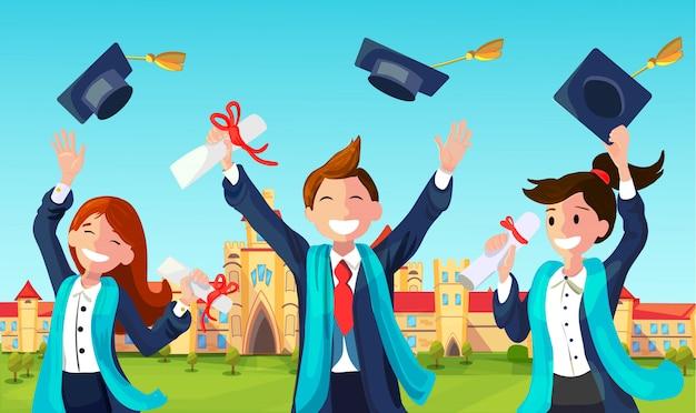 Estudiantes tiran sombreros de graduación en el aire. Vector Premium