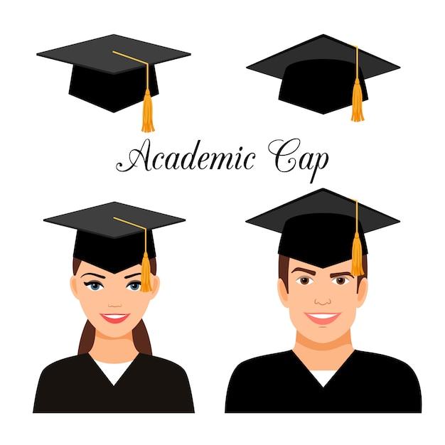 Estudiantes universitarios graduados Vector Premium