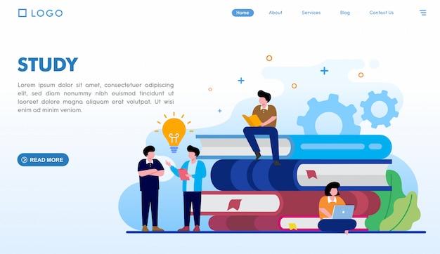 Estudiar plantilla de página de destino Vector Premium
