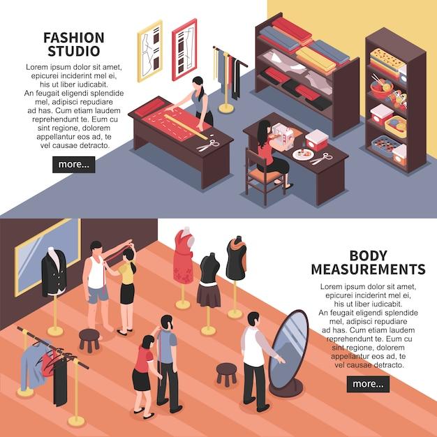 Estudio de moda y mediciones corporales banners horizontales vector gratuito
