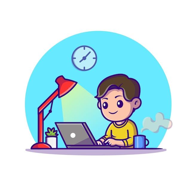 Estudio de niño lindo con ilustración de icono de dibujos animados de portátil. concepto de icono de tecnología de educación aislado. estilo de dibujos animados plana vector gratuito