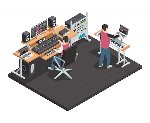 Estudio de producción musical. sala interior isométrica con ingeniero de sonido y productor de arreglos. workpla vector gratuito