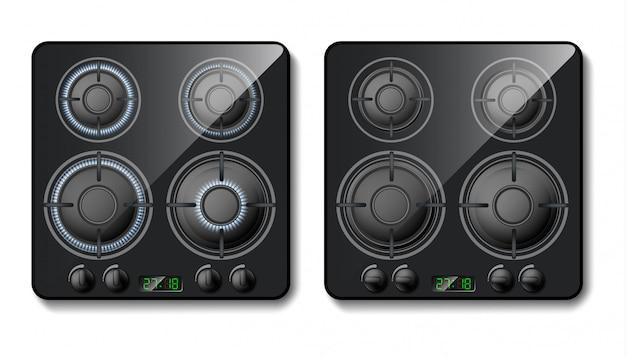 Estufa de gas realista parte superior de la cocina negra for Llama en la cocina